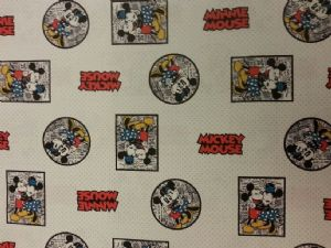 NEW! MICKEY AND MINNIE MOUSE- BEST FRIENDS - Fabric 100% Cotton - Price Per Metre